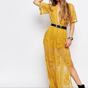 Yellow Honey Punch Lace Maxi Romper/Dress